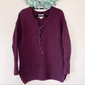 Ruby Moon for Anthropologie Lace up sweater Medium
